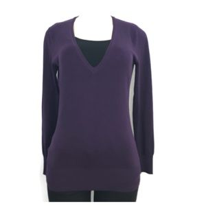 The Limited Purple V Neck Cardigan Sweater